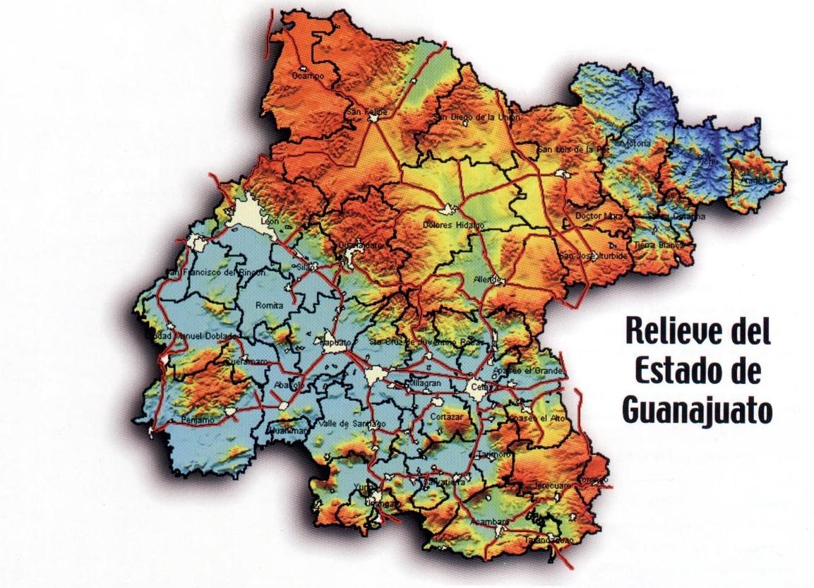 Mapa Orográfico de Guanajuato